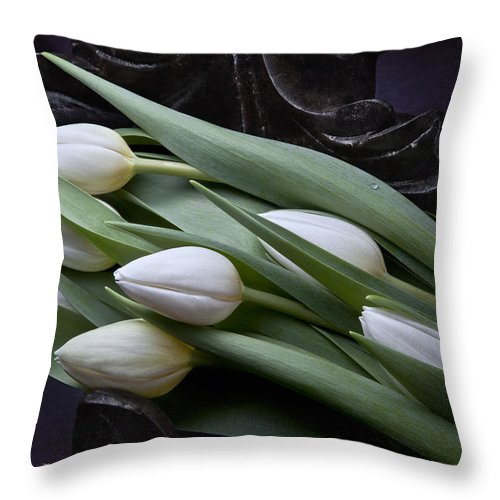 Arrangement Throw Pillow featuring the photograph Tulips Laying In Wait by Tom Mc Nemar