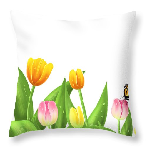 Digital Throw Pillow featuring the painting Tulips by Veronica Minozzi