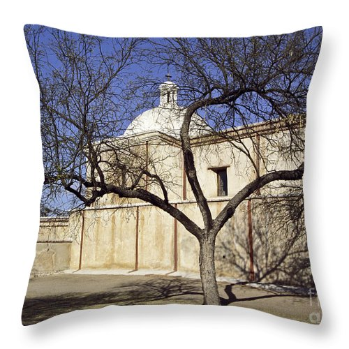 Mission Throw Pillow featuring the photograph Tumacacori With Tree by Kathy McClure