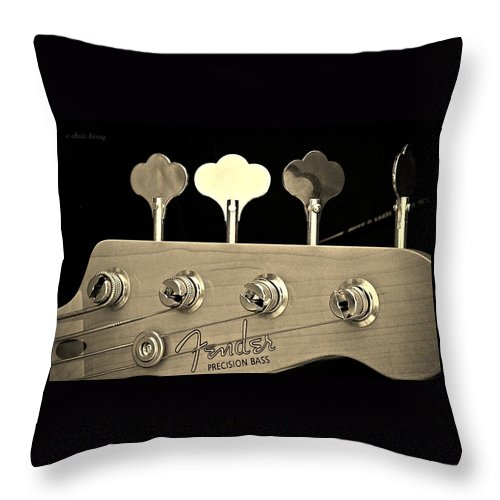 Fender Throw Pillow featuring the photograph Fender Precision Bass by Chris Berry
