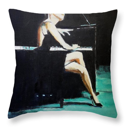 Music Throw Pillow featuring the painting Tuning Out by Judy Kay