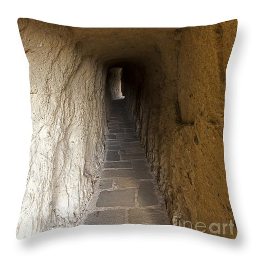 Tunnel Throw Pillow featuring the photograph Tunnel At Meteora Monastery  #9763 by J L Woody Wooden