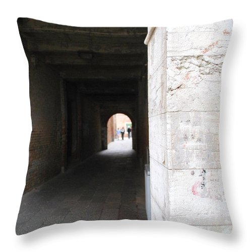 Tunnel Throw Pillow featuring the photograph Tunnel In Venice by Richard Booth