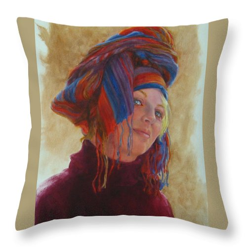 Figurative Throw Pillow featuring the painting Turban 2 by Connie Schaertl