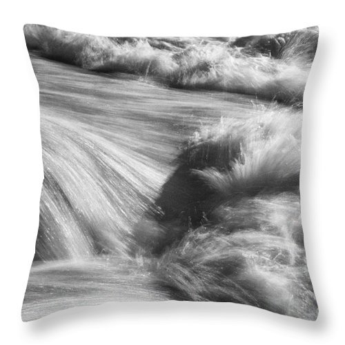 Pedernales State Park Johnson City Texas Parks Water Waterfall Waterfalls Falls River Rivers Stream Streams Cascade Cascades Waterscape Waterscapes Wave Waves Black And White Throw Pillow featuring the photograph Turbulence 2 by Bob Phillips