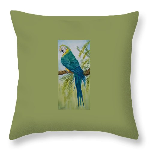 Macaw Throw Pillow featuring the painting Turk Macaw by Kathy Przepadlo