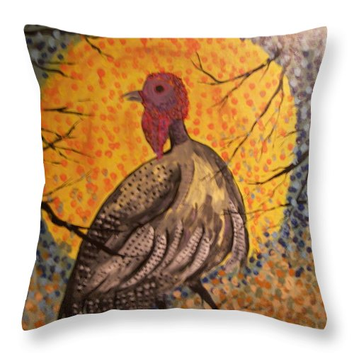 Folk Art Throw Pillow featuring the painting Turkey In The Moonlight by Ken Blacktop Gentle