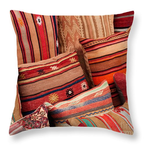 Traditional Throw Pillow featuring the photograph Turkish Cushions 02 by Rick Piper Photography