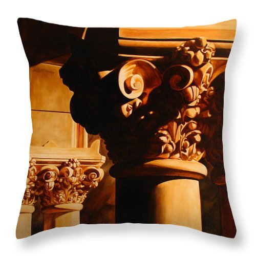 Corinthian Columns Throw Pillow featuring the painting Turn Of The Century by Keith Gantos
