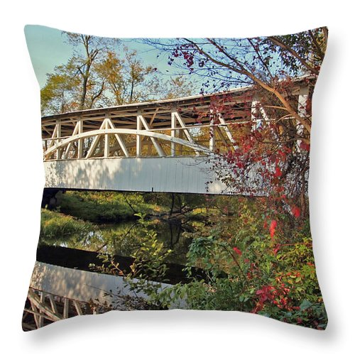 Covered Bridge Throw Pillow featuring the photograph Turner's Covered Bridge by Suzanne Stout