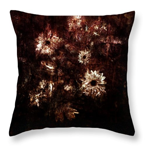 William Throw Pillow featuring the digital art Turner's Flowers by Kim Gauge