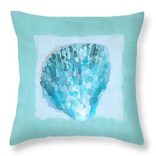 Seashell Throw Pillow featuring the painting Turquoise Seashells Vii by Lourry Legarde