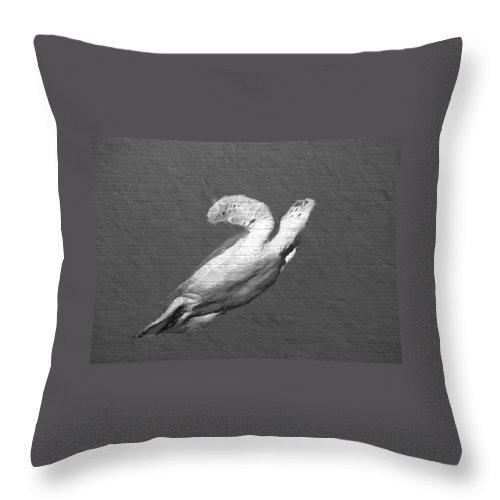 Animal Throw Pillow featuring the digital art Turtle Gaffiti by Roy Pedersen