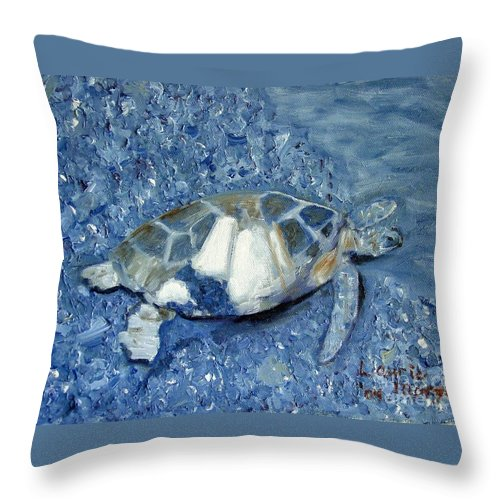 Turtle Throw Pillow featuring the painting Turtle On Black Sand Beach by Laurie Morgan