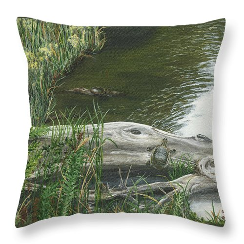 Turtles Throw Pillow featuring the painting Turtles by Lucinda V VanVleck