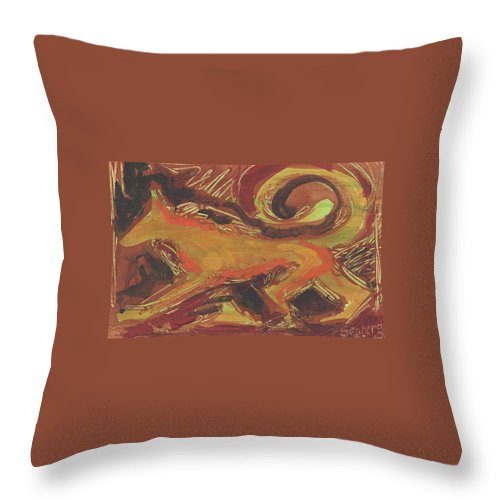 Italy. Italia Throw Pillow featuring the painting Tusany Dog Italy by Jeff Seaberg