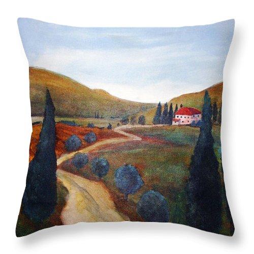Rick Huotari Throw Pillow featuring the painting Tuscan Farmhouse by Rick Huotari
