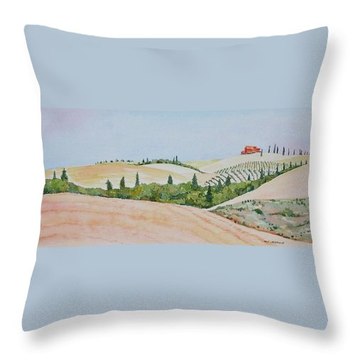 Landscape Throw Pillow featuring the painting Tuscan Hillside One by Mary Ellen Mueller Legault