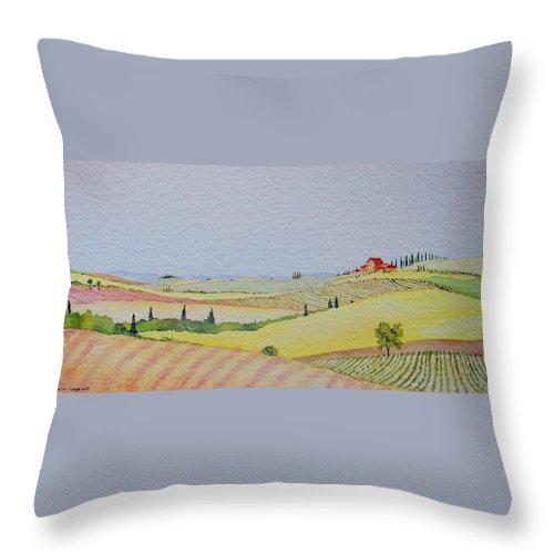 Watercolor Throw Pillow featuring the painting Tuscan Hillside Three by Mary Ellen Mueller Legault