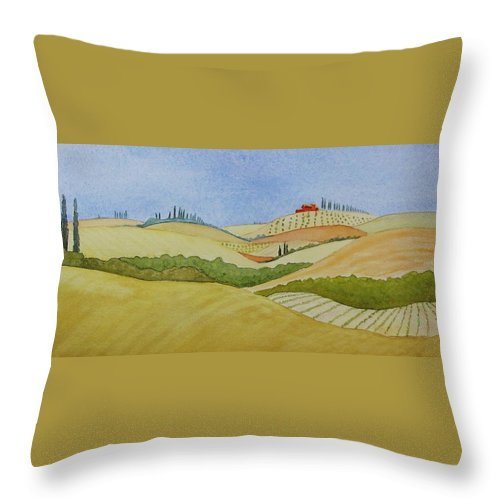 Italy Throw Pillow featuring the painting Tuscan Hillside Two by Mary Ellen Mueller Legault