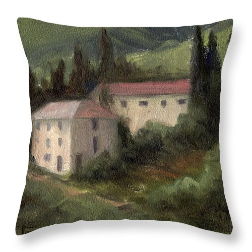 Tuscan Landscape Painting Throw Pillow featuring the painting Tuscan Landscape II by Terri Meyer