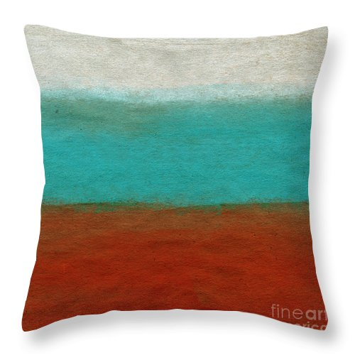 Abstract Landscape Throw Pillow featuring the painting Tuscan by Linda Woods