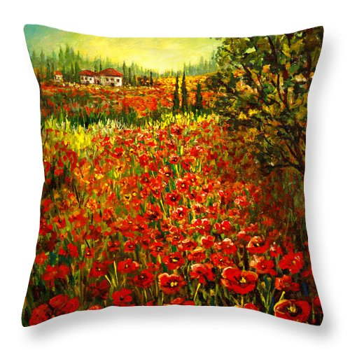 Tuscan Throw Pillow featuring the painting Tuscan Poppies by Lou Ann Bagnall