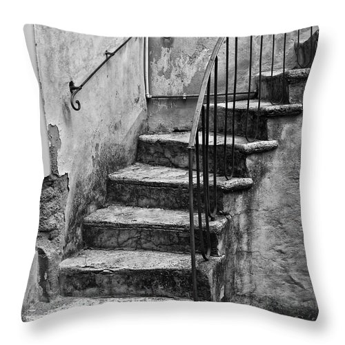 Tuscan Throw Pillow featuring the photograph Tuscan Staircase Bw by Mike Nellums