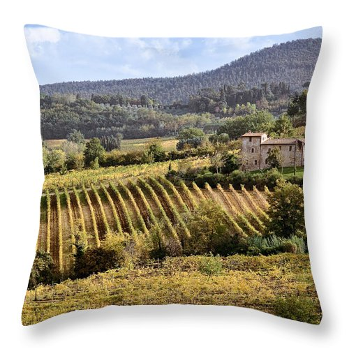 Tuscany Throw Pillow featuring the photograph Tuscan Valley by Dave Bowman