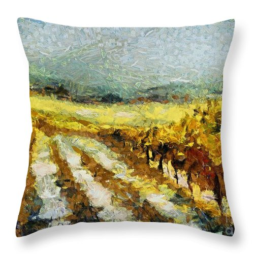 Landscapes Throw Pillow featuring the painting Tuscan Vineyard by Dragica Micki Fortuna