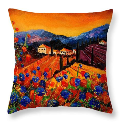 Poppies Throw Pillow featuring the painting Tuscany Poppies by Pol Ledent