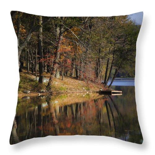 Joan Carroll Throw Pillow featuring the photograph Tuxedo Lake Autumn by Joan Carroll