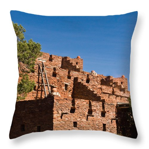 Tuzigoot Throw Pillow featuring the photograph Tuzigoot Native American Ruins Arizona 1 by Douglas Barnett