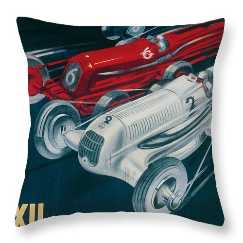 Motor Racing Throw Pillow featuring the painting Twelfth Italian Grand Prix At Monza by Plinio Codognato