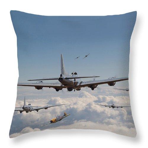 Aircraft Throw Pillow featuring the digital art Twelve Oclock High by Pat Speirs