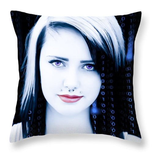 Youth Throw Pillow featuring the digital art Twenty First Century Girl by Lori Frostad
