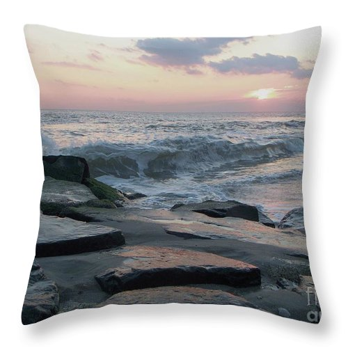 Twilight Throw Pillow featuring the photograph Twilight At Cape May In October by Eric Schiabor