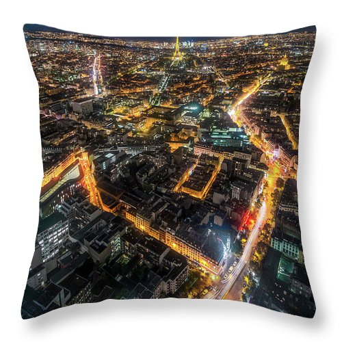 Tranquility Throw Pillow featuring the photograph Twilight City View Of Paris by Coolbiere Photograph