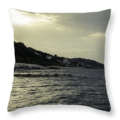 Landscape Throw Pillow featuring the photograph Sunset On The Beach - Twilight Symphony by Andrea Mazzocchetti
