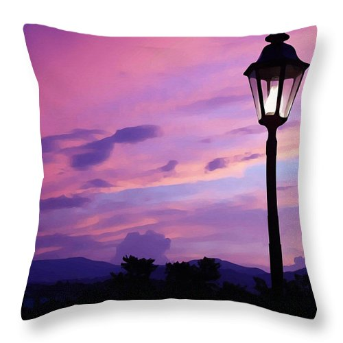 Twilight Time Throw Pillow featuring the painting Twilight Time by Ellen Henneke