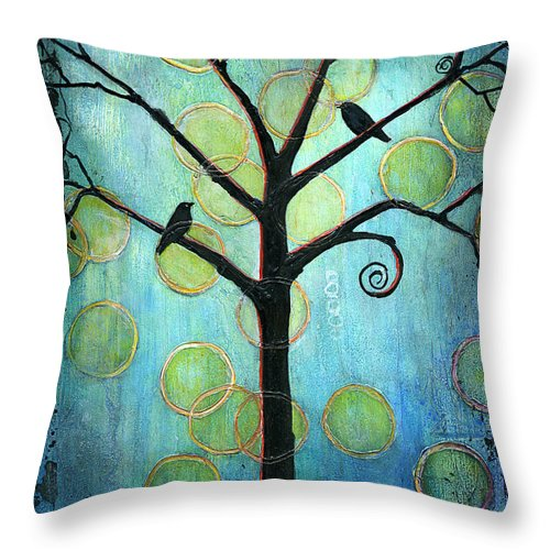 Tree Throw Pillow featuring the painting Twilight Version 2 by Blenda Studio