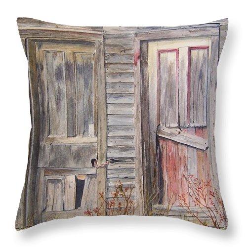 Doors Throw Pillow featuring the painting Twin Doors by Jackie Mueller-Jones