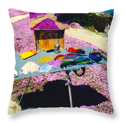 Artist Pallet Throw Pillow featuring the photograph Oceanview Pinks by Phyllis Kaltenbach