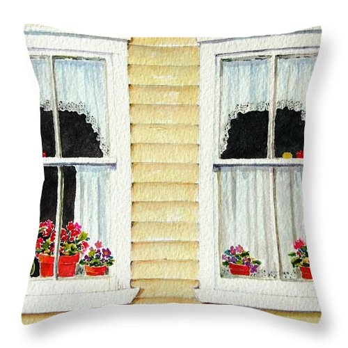 Windows Throw Pillow featuring the painting Twin Peeks by Mary Ellen Mueller Legault