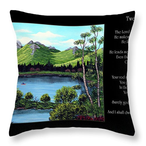 Twenty Third Psalm Throw Pillow featuring the painting Twin Ponds And 23 Psalm On Black Horizontal by Barbara Griffin