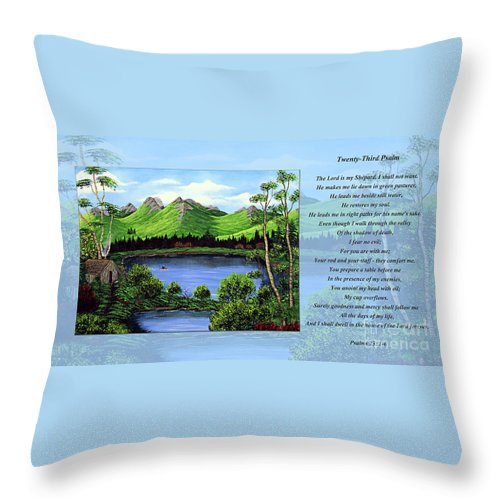 Twenty Third Psalm Throw Pillow featuring the painting Twin Ponds And 23 Psalm On Blue Horizontal by Barbara Griffin