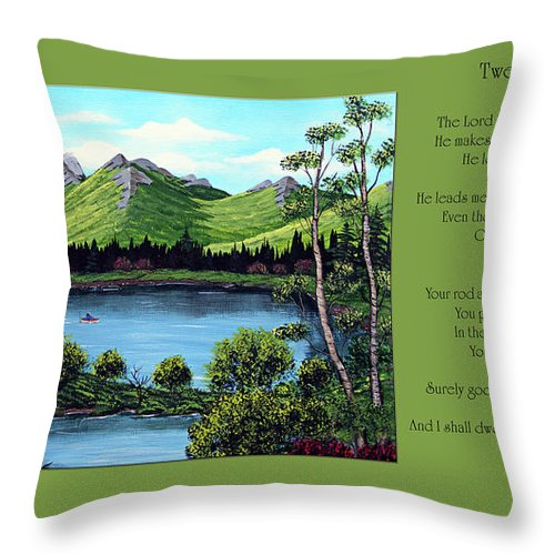 Twenty Third Psalm Throw Pillow featuring the painting Twin Ponds And 23 Psalm On Green Horizontal by Barbara Griffin