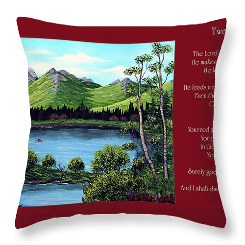 Twenty Third Psalm Throw Pillow featuring the painting Twin Ponds And 23 Psalm On Red Horizontal by Barbara Griffin