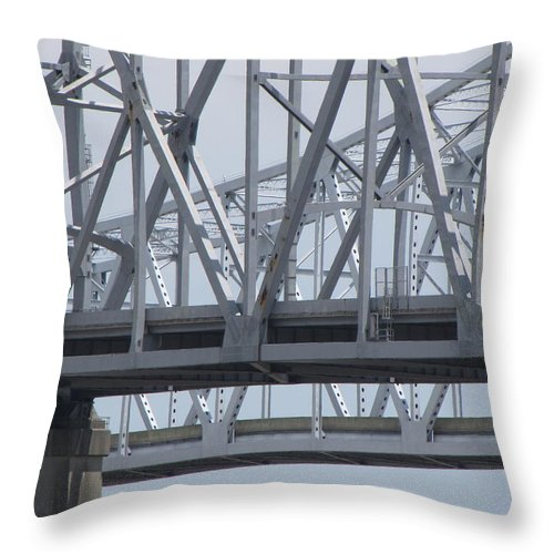 Bridge Throw Pillow featuring the photograph Twin Spans by Beth Vincent