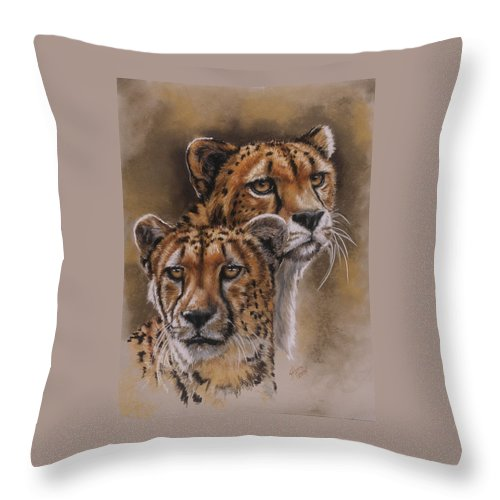 Cheetah Throw Pillow featuring the pastel Twins by Barbara Keith